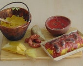 Traditional polenta with tomato sauce and sausages 1:12 scale miniature for dollhouse