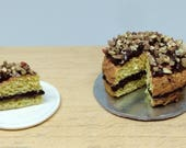 Nutella chocolate cake with grains of hazelnuts 1:12 scale for dollhouse