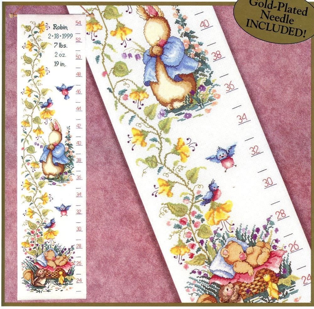 New Little One Growth Chart 1998 Bucilla Baby Counted Cross Etsy