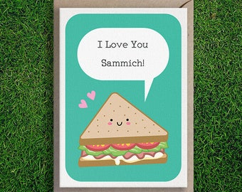 Greeting Cards   I Love You Sammich Card Romantic Anniversary Love Valentines Sandwich Cute Funny Pun Silly Quirky Card Boyfriend Girlfriend