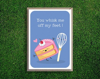 Greeting Cards | Whisk Me off My Feet Valentines Day Card Romantic Anniversary Love Cake Cute Funny Pun Silly Quirky Boyfriend Girlfriend