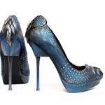 High heeled blue shoes handpainted size US 7
