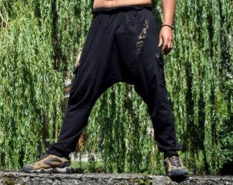Visionary art Shipibo black harem men pants, Ayahuasca trousers, sacred geometry Psychedelic Clothes