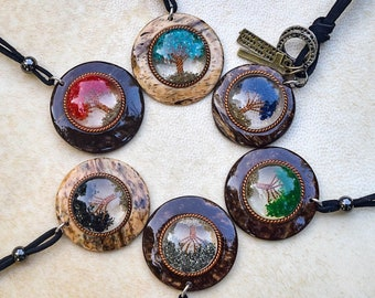 Tree of life orgonite necklace, orgone pendant with coconut, crystals and copper