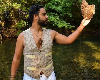 Shipibo vest, Earth colors and organic cotton, Sacred Geometry, Ayahuasca clothes, Psychedelic Clothes, Entheogen clothes, Shamanic cothes