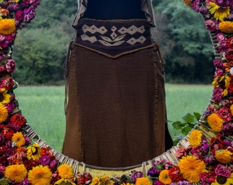 Wild Shamanic long skirt in cotton for men and women with embroidered waist and side straps to adjust