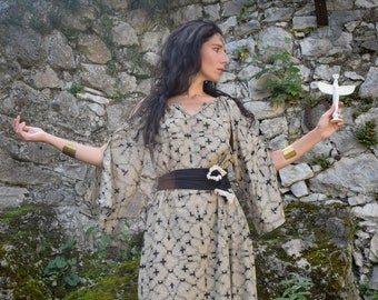 Wicca Witch dress, Shamanic Shipibo dress, Halloween costume dress for female sacred rituals, Ayahuasca dress, psychedelic dress