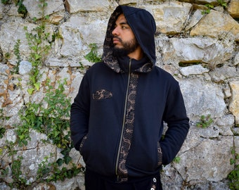 Visionary art Shipibo black hooded jacket, Ayahuasca clothes, sacred geometry Psychedelic Clothes