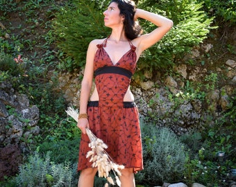 Red sexy Goa trance dress, Shamanic Shipibo dress, goddess dress, Gypsy bohemian dress, Ayahuasca dress, psychedelic dress