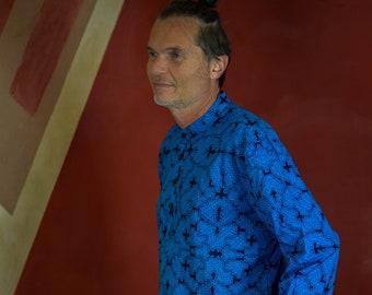 Visionary art Shipibo blue shirt, long sleeves and mandarin collar, Sacred Geometry, Ayahuasca clothes, Psychedelic Clothes