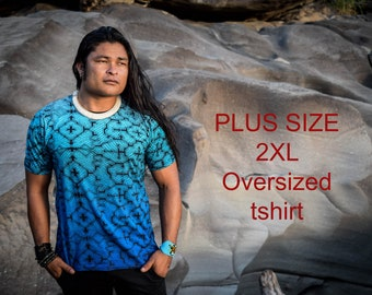 Visionary art plus size Blue Shipibo t shirt, Sacred Geometry, Oversized Ayahuasca clothes, Psychedelic Clothes, gifts for him, shipibo