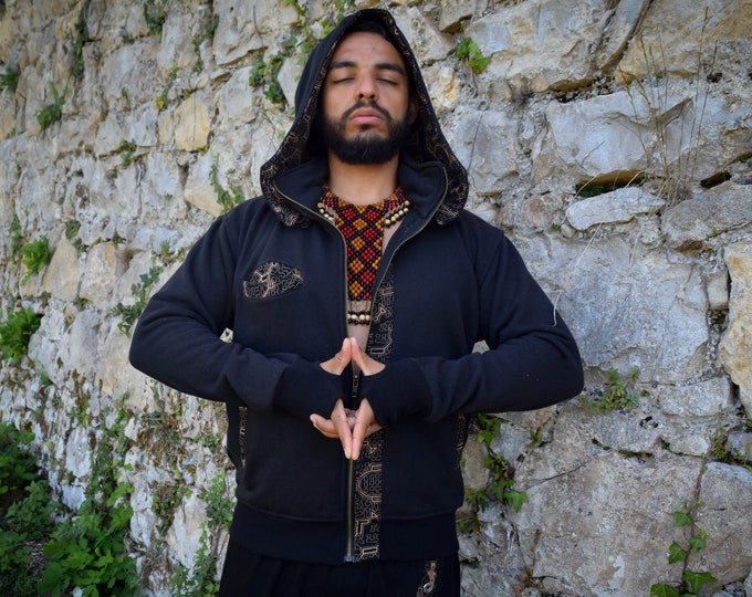 Featured listing image: Visionary art Shipibo black hooded jacket, Ayahuasca clothes, sacred geometry Psychedelic Clothes