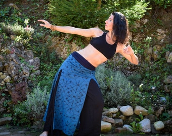 Warrior Double Split Maxi skirt, Shamanic Shipibo long skirt, medieval bohemian skirt, Ayahuasca skirt, psychedelic skirt