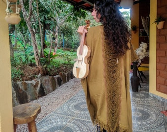 masala light brown Raw cotton long poncho kimono, free size long vest with fringes on the back, boho psy trance festival cloth