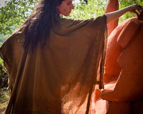Shamanic poncho for men and women,  100% cotton and natural dye, Open cape psychedelic festival cape, wild poncho