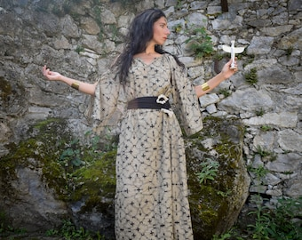 Witch ritual dress, Fairy Dress, Shamanic Shipibo dress, Wicca goddess dress, bohemian dress, Ayahuasca dress, psychedelic dress