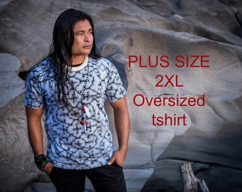 Visionary art Shipibo plus size men t-shirt, oversized amazing Ayahuasca Shamanic t-shirt for men