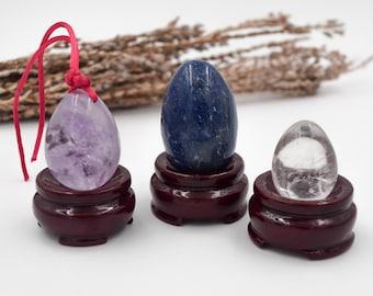 Set of yoni eggs, blue quartz, amethyst and clear quartz, + free a practical guide for using yoni eggs