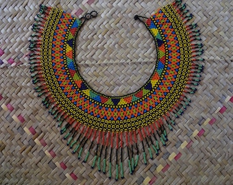 Embroidery beads shamanic Native American indigenous necklace, made of glass beads and geometric patterns, ethnic necklace