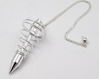 Silver plated spiral Pendulum,  pendulum, ideas for gift, divination pendulum, Pendulum Radiesthesie, Esotérique, Divination, metal pendulum