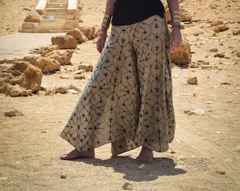 Shipibo ayahuasca pattern trousers, Colors of the desert 100% cotton printed, stylish sacred geometry design