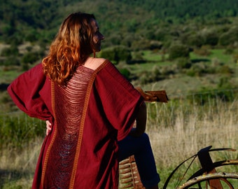 Red Raw cotton long poncho, free size long vest with fringes on the back, burning man style, boho psy trance festival cloth, wrap kimono