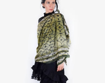 Gold modal silk Shipibo scarves, gift for her fashion scarves, sacred geometry, women scarves, shawls, Gifts for her, Ayahuasca scarves