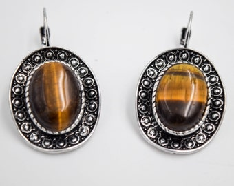 Tiger eye Stone earrings, tiger eye earrings, Romantic jewelry, Bohemian earrings, Gifts for her, safe bijoux, boho chic bijoux