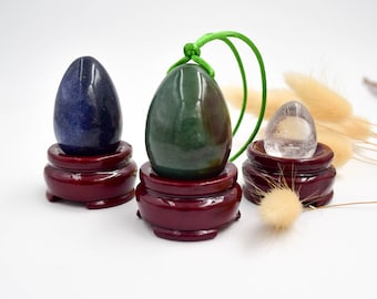 Yoni eggs set, aventurine yoni egg, lazulite yoni egg and clear quartzyoni egg , + free a pratical guide for using yoni eggs