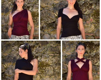 Multiway top style, Many ways to wear top, must have wine black top, transformer top, boho chic top, psychedelic, chic top, gift for her
