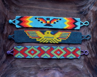 Embroidered beads shamanic Native American bracelets, made of glass beads, Beads embroidery, ethnic bracelets