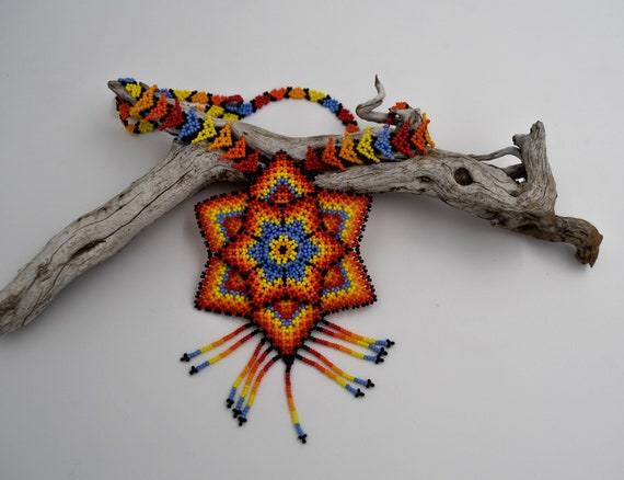 Beaded Huichol Native jewelry, ethnic 3D beaded star tribal jewelry
