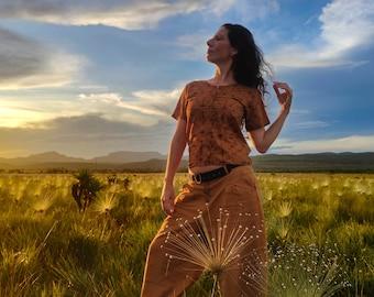 Shipibo short sleeves woman's shirt. Casual boxy tees for woman, Visionary art brown shirt Sacred Geometry, Ayahuasca psychedelic cloth