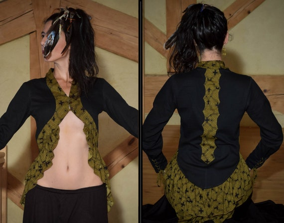 Victorian steam punk long tail jacket, with sacred geometry shipibo