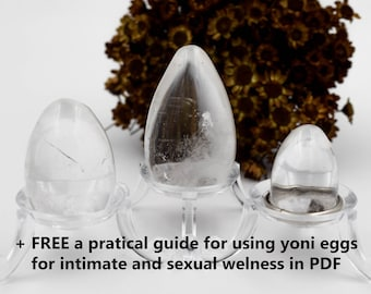 Set of Clear Quartz crystal yoni eggs, sacred feminine, + free a pratical guide for using yoni eggs, undrilled yoni eggs, sexual wellness