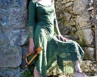 Dream Medieval dress, elf dress, Gypsy bohemian dress, Boho dress, Bohemian dress, romantic lace dress, psychedelic festival dress