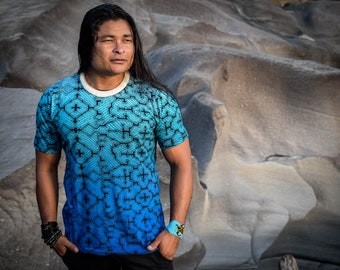 Blue Shipibo t shirt, Sacred Geometry, Ayahuasca clothes, Psychedelic Clothes, entheogen tshirts, men tribal style, gifts for him, shipibo