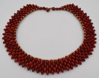 Embroidery seeds necklace, handmade by Brazilian Indians, tribe fulni ô, ethnic necklace