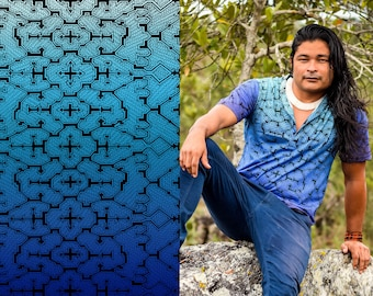 Shipibo t shirt, Blue Sacred Geometry, Ayahuasca clothes, Psychedelic Clothes, entheogen tshirts, gifts ideas for him, men style, tribal