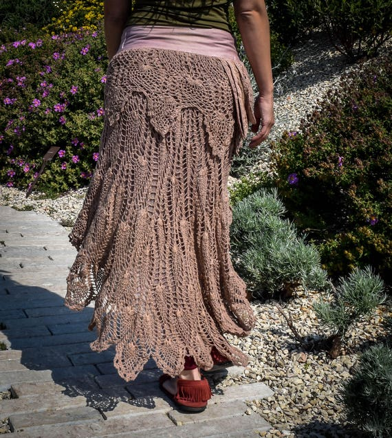 Old rose Crochet psy festival skirt, boho gypsy skirt, Wrap Around skirt, skirt with pocket and belt, psychedelic festival skirt