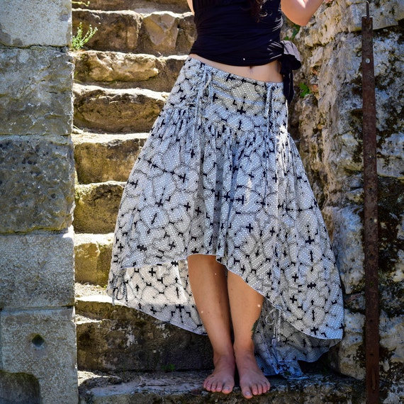 Sacred geometry Shipibo skirt, short in front long in back skirt, Boho skirt, Bohemian maxi skirt, psychedelic