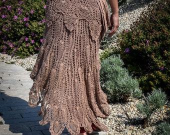 Crochet goa trance festival skirt, wrap around skirt, boho gypsy skirt, bohemian skirt, skirt with pocket and belt, psychedelic skirt
