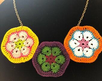 Crochet African violet necklace