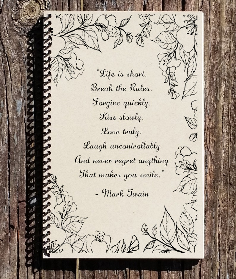 Mark Twain Notebook Mark Twain Quote Life Is Short Quote Etsy