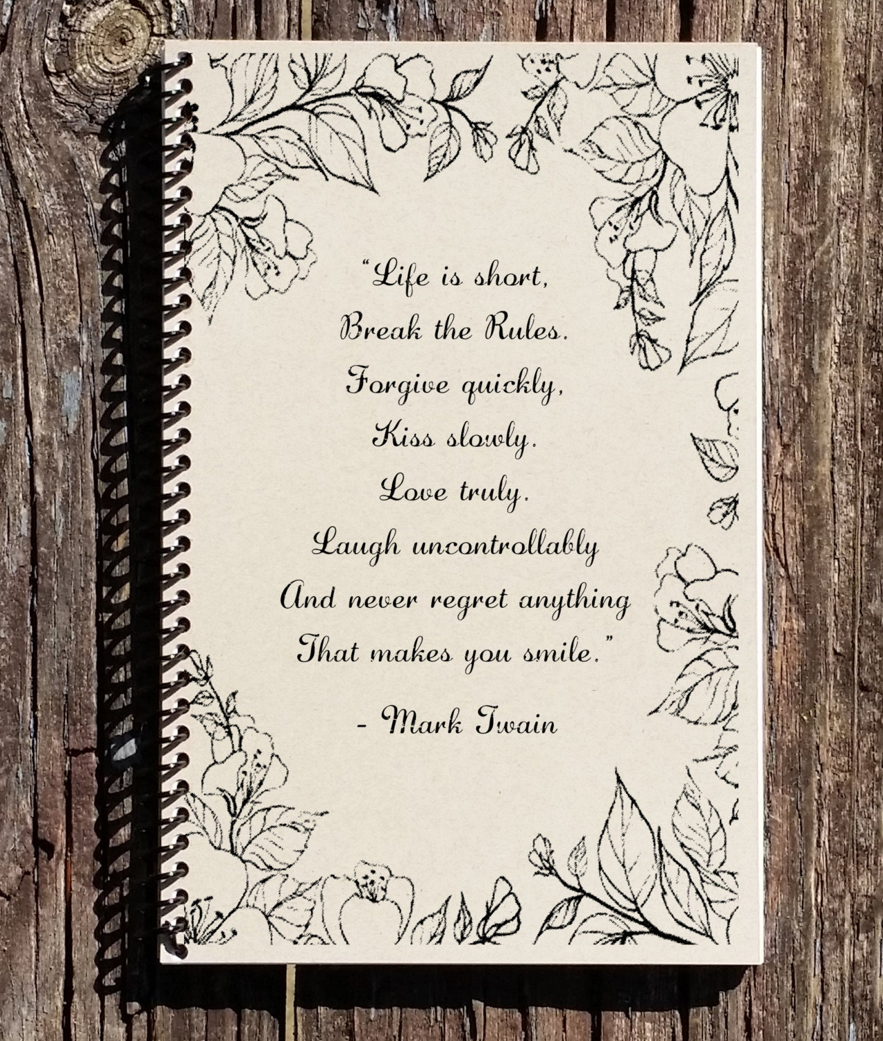 3d1c201945cc Mark Twain Notebook - Mark Twain Quote - Life Is Short Quote - Motivational  Quote - Notebook - Journal - Kraft Notebook - Inspirational Gift