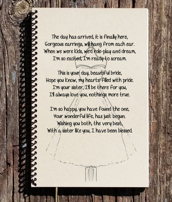 Wedding Day Poems For Bride: Sister Wedding Day Gift Sisters Wedding Gift Sister Gift