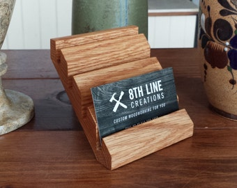 Multiple business card holder etsy business card holder multiple business card display red oak desk accessory minimalist gift card display office decor colourmoves