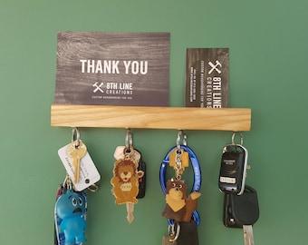 "Wall Mounted Key Holder, Key Rack, Key Holder, Magnetic Key Holder , Wall Decor, Home Decor, Ash 9"""
