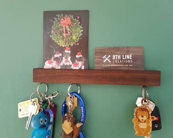 "Magnetic Key Holder , Wall Mounted Key Holder , Key Holder For Wall , Key Rack, Key Holder, Walnut 9"", Wall Decor, Home Decor"