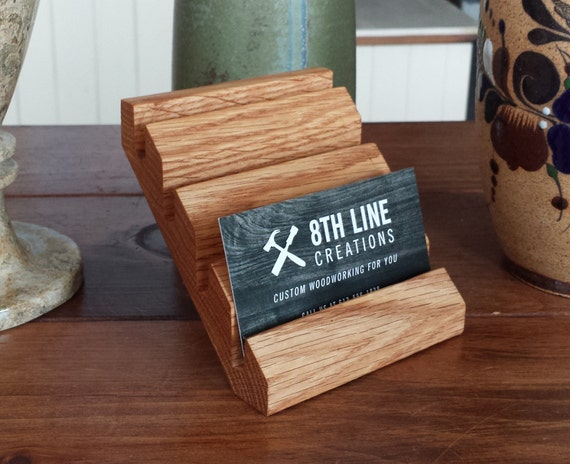 Business card holder multiple business card display red oak etsy image 0 colourmoves